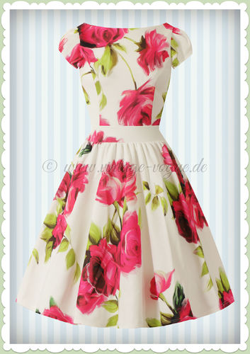 Lady Vintage 40er Jahre Vintage Retro Rosen Kleid - Goldie Dress - Weiß Pink