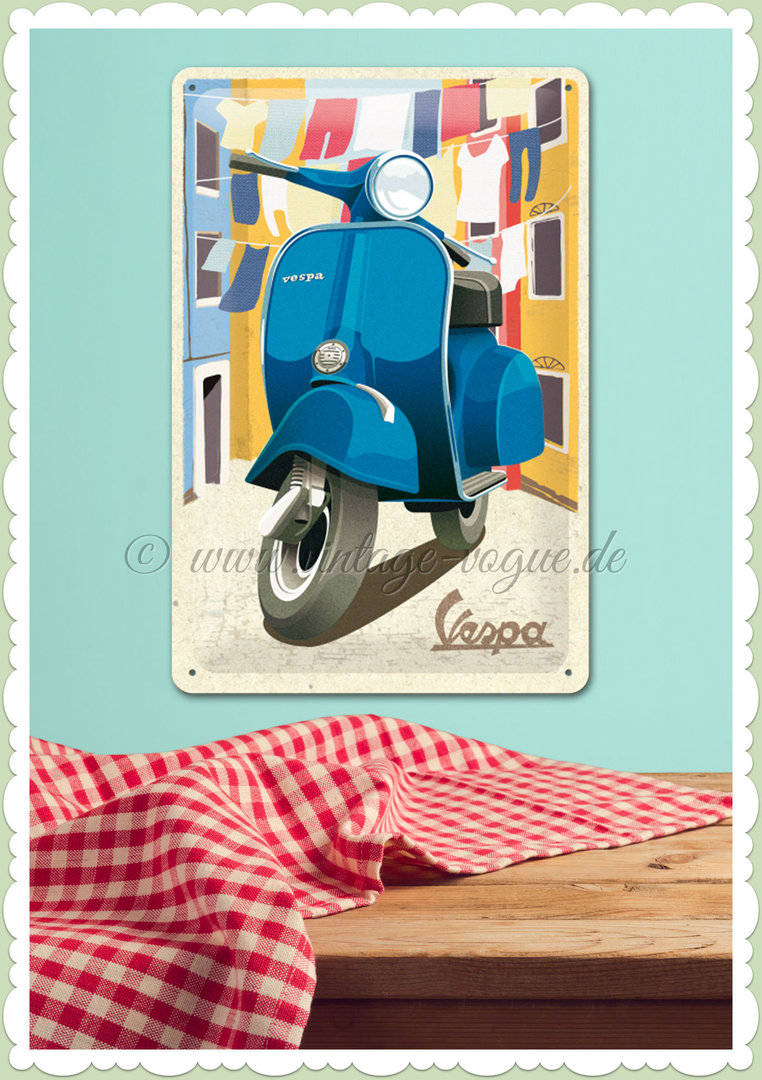 "Nostalgic Art Retro Pin Up Blechschild ""Vespa - Italian Laundry"""