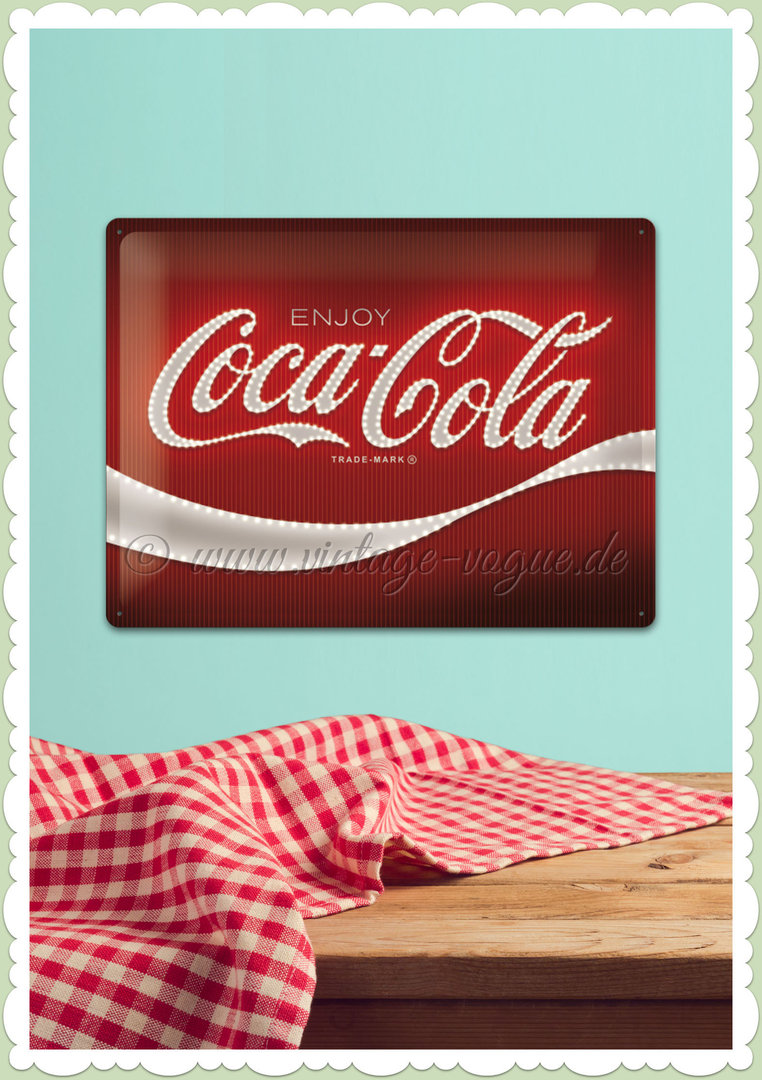 "Nostalgic Art Retro Open Bar Blechschild ""Coca-Cola - Logo Red Lights"""