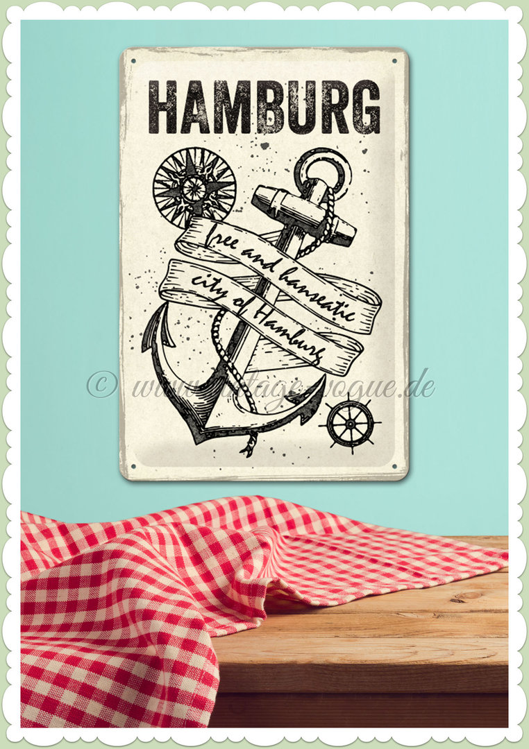 "Nostalgic Art Retro Blechschild ""Hamburg - City of Hamburg Anchor"""