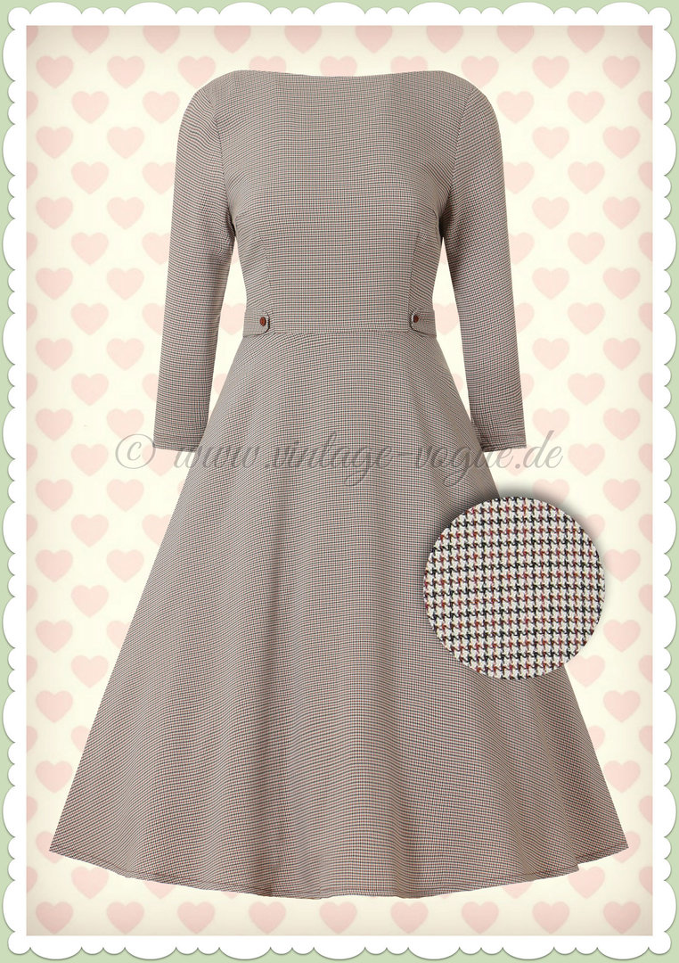 Banned 50er Jahre Retro Rockabilly Dogtooth Swing Kleid - Betty - Beige
