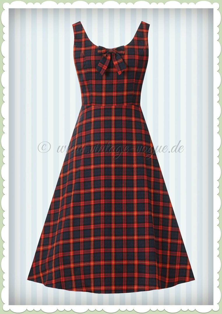 Banned 50er Jahre Rockabilly Tartan Kleid - Christmas Check - Navy Rot