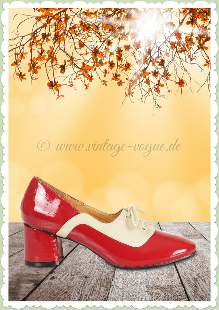Banned 40er Jahre Vintage Absatzschuhe - Modernist Two Tone Lace - Rot