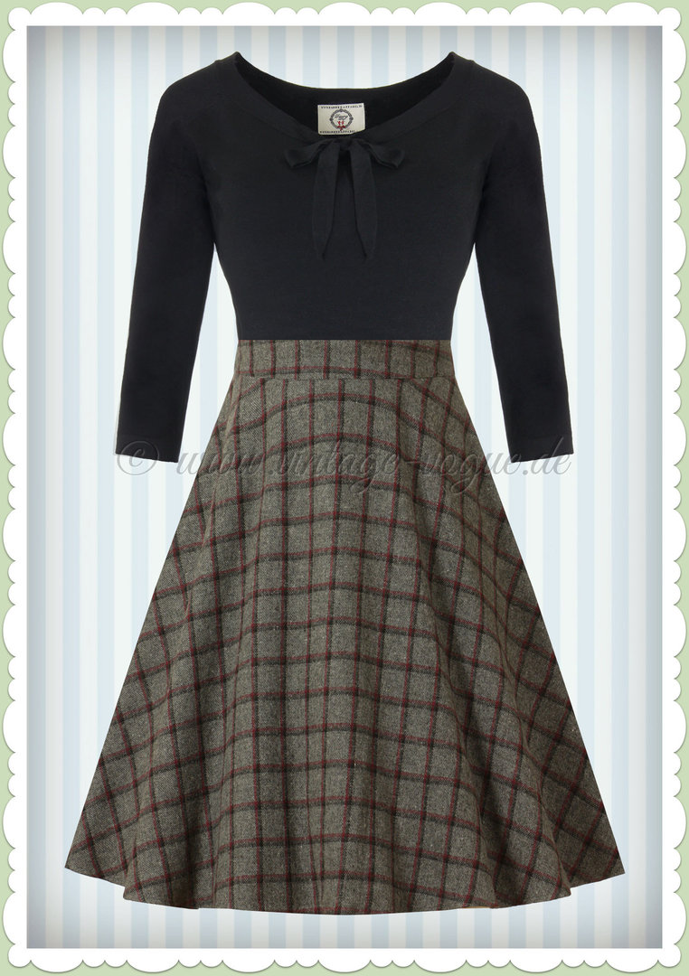 Banned 50er Jahre Retro Vintage Petticoat Tartan Rock - Ladies Day - Grau