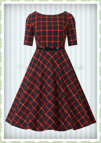 Banned 50er Jahre Retro Vintage Tartan Swing Kleid - Mrs Clause - Rot Blau