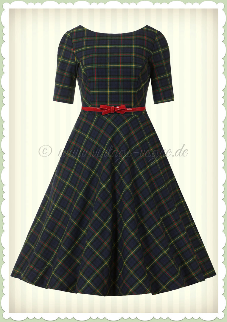 Banned 50er Jahre Retro Vintage Tartan Swing Kleid - Mrs Clause - Grün Blau