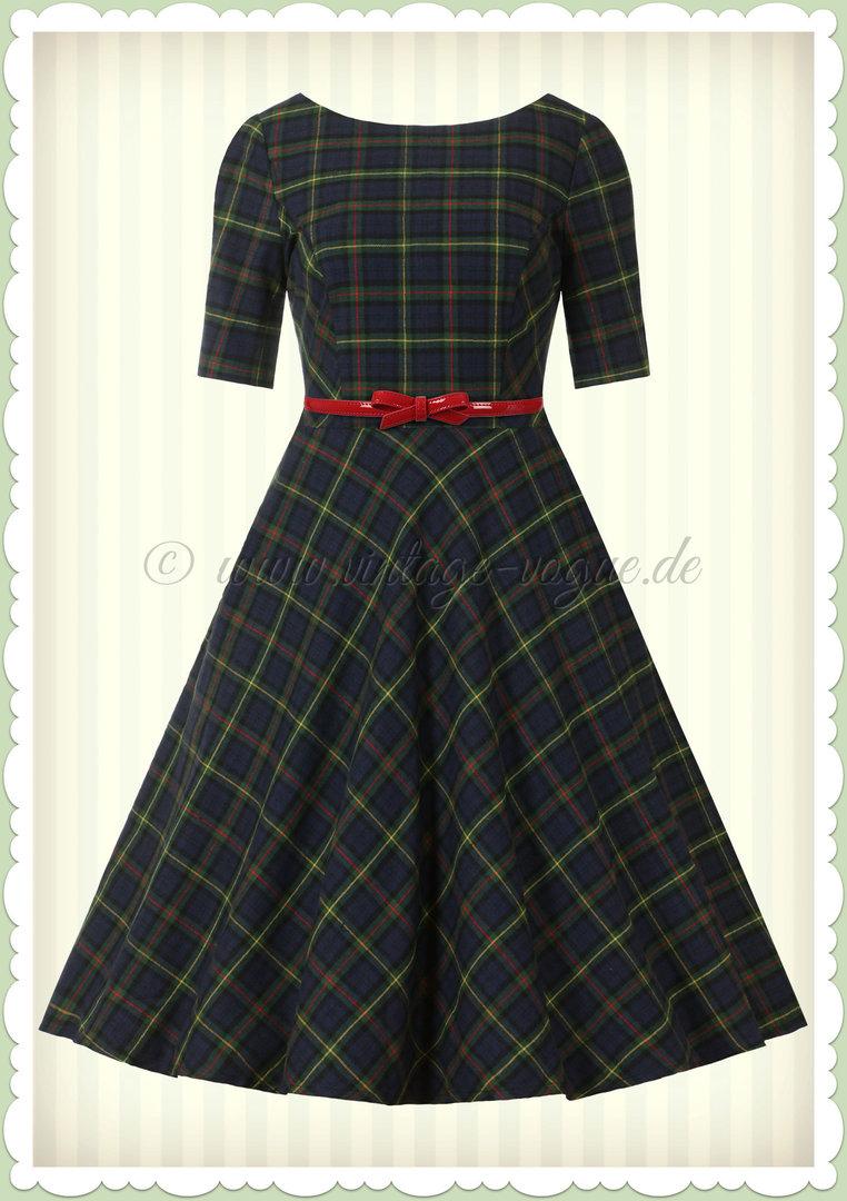 Banned 19er Jahre Retro Vintage Tartan Swing Kleid - Mrs Clause - Grün Blau