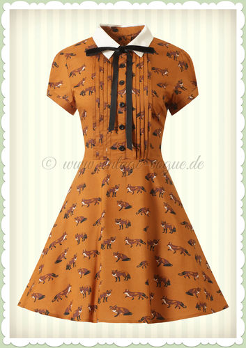 Hell Bunny 50er Jahre Vintage Rockabilly Fuchs Kleid - Vixey - Orange