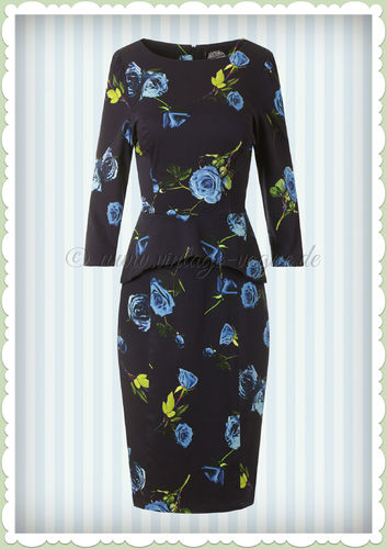 Hearts & Roses 50er Jahre Retro Pencil Kleid - Blue Melody Dress - Navy
