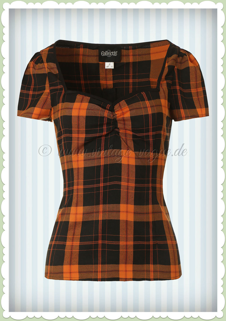 Collectif 40er Jahre Vintage Retro Tartan Karo Top  - Mimi - Schwarz Orange
