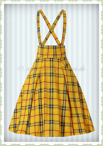 Collectif 50er Jahre Vintage Tartan Swing Rock - Alexa Clueless - Gelb