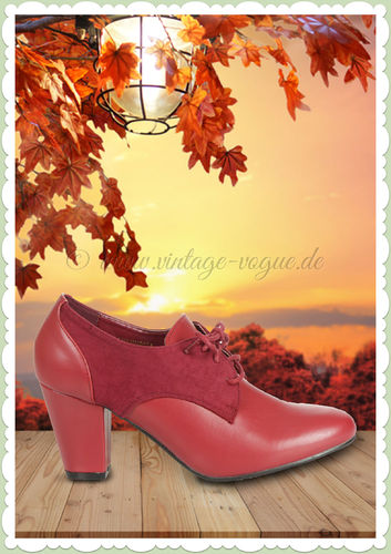 Collectif Lulu Hun 50er Jahre Retro Vintage Pumps - Vera - Burgundy