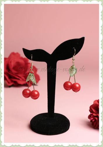 Miss Millinery 50er Jahre Rockabilly Ohrringe - Cute Joker Cherries - Rot