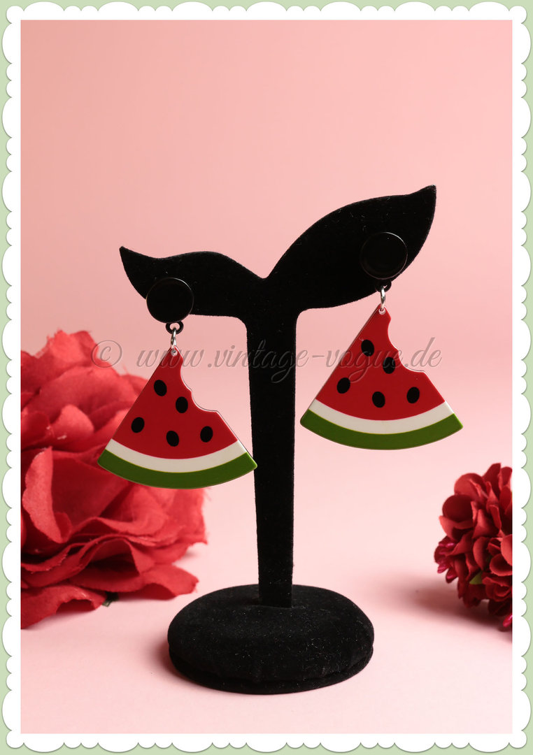 Miss Millinery 50er Jahre Rockabilly Ohrringe - Cartoon Watermelon - Rot