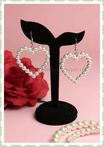 Miss Millinery 50er Jahre Rockabilly Ohrringe - Heart with Pearls - Silber