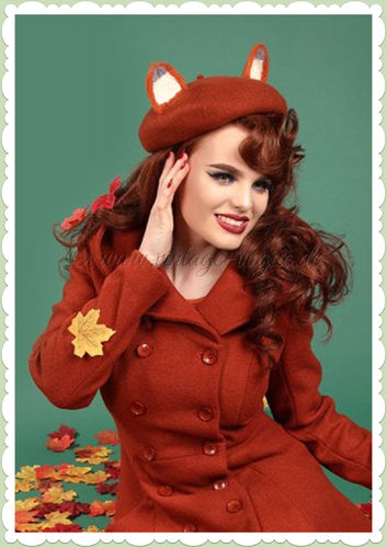 Collectif 40er Jahre Vintage Retro Fuchs Barett Wollmütze - Foxy - Orange