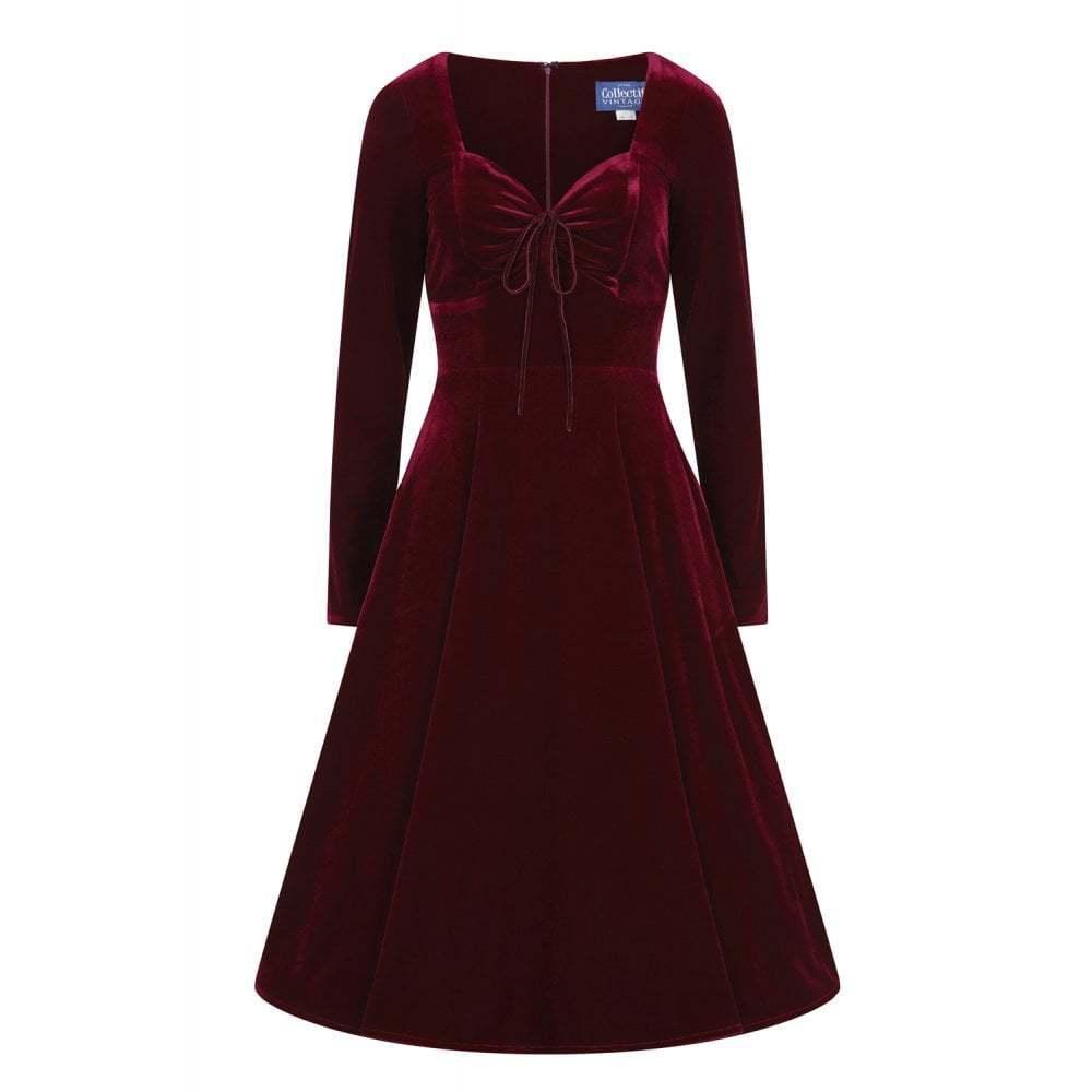 Collectif 40er Jahre Vintage Samt Velvet Swing Kleid Corinne Weinrot