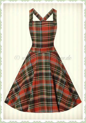 Hell Bunny 50er Jahre Rockabilly Tartan Kleid - Oktober Pinafore - Orange