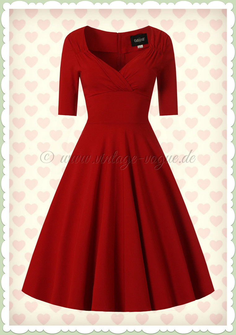 Collectif 40er Jahre Pin-Up Retro Swing Kleid - Trixie Doll - Rot