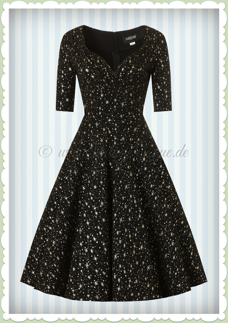 Collectif 40er Jahre Pin-Up Atomic Star Swing Kleid - Trixie Doll - Schwarz