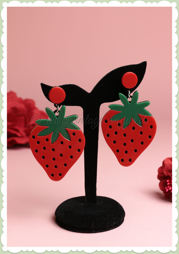 Miss Millinery 50er Jahre Rockabilly Ohrringe - Cartoon Strawberry - Rot