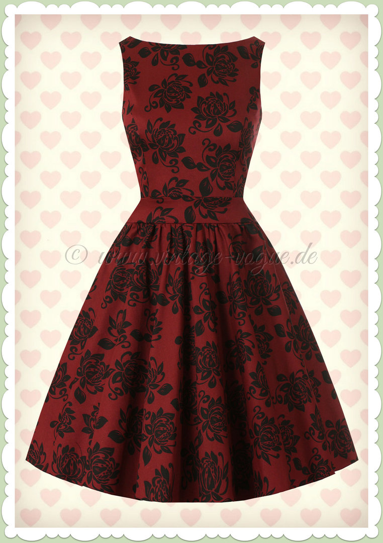 Lady Vintage 40er Jahre Vintage Retro Rosen Kleid - Tea Dress - Weinrot