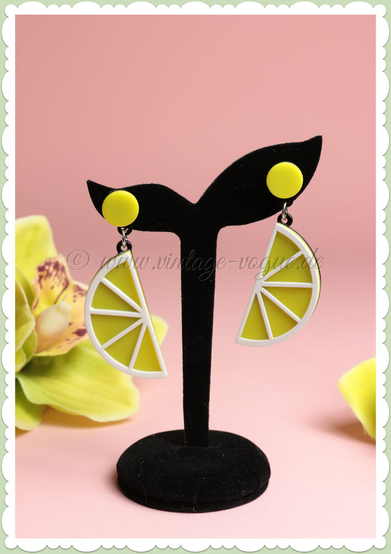 Miss Millinery 50er Jahre Rockabilly Ohrringe - Lemon Slice - Gelb