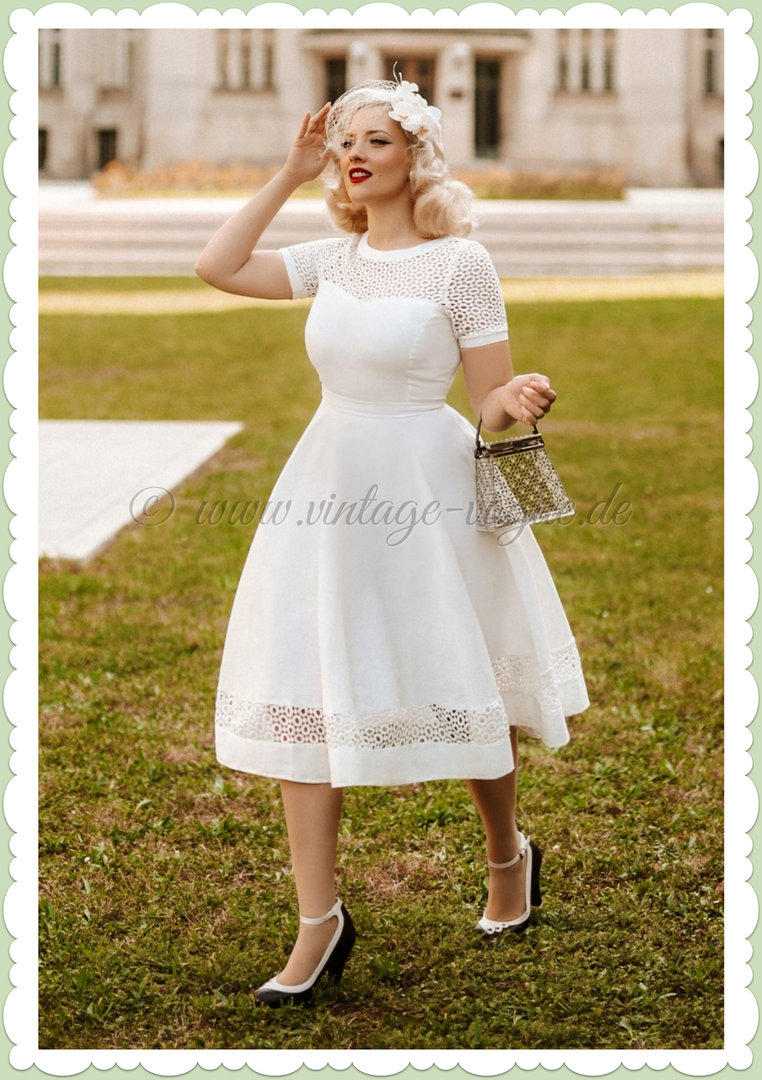 Dolly & Dotty 50er Jahre Retro Rockabilly Petticoat Kleid - Tess - Weiß