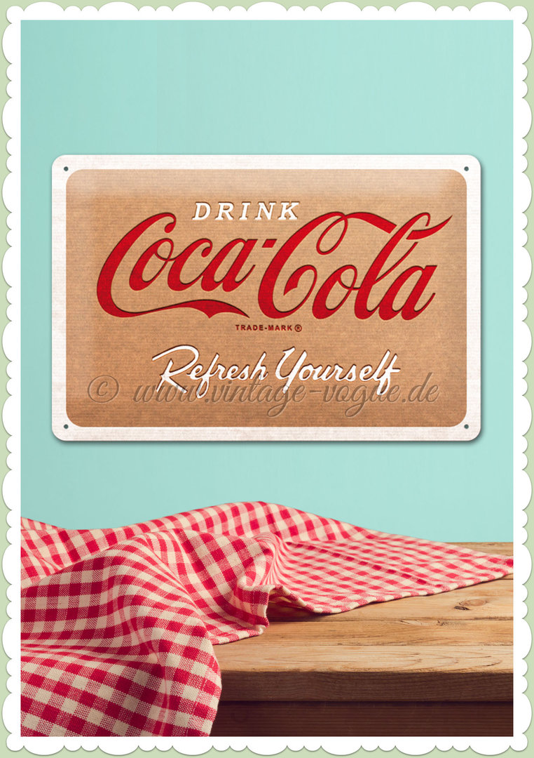 "Nostalgic Art Retro Pin Up Blechschild ""Coca Cola - Cardboard Logo"""
