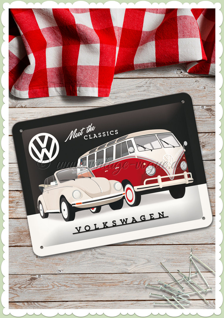 "Nostalgic Art Retro Oldtimer Blechschild ""VW - Meet The Classics"""