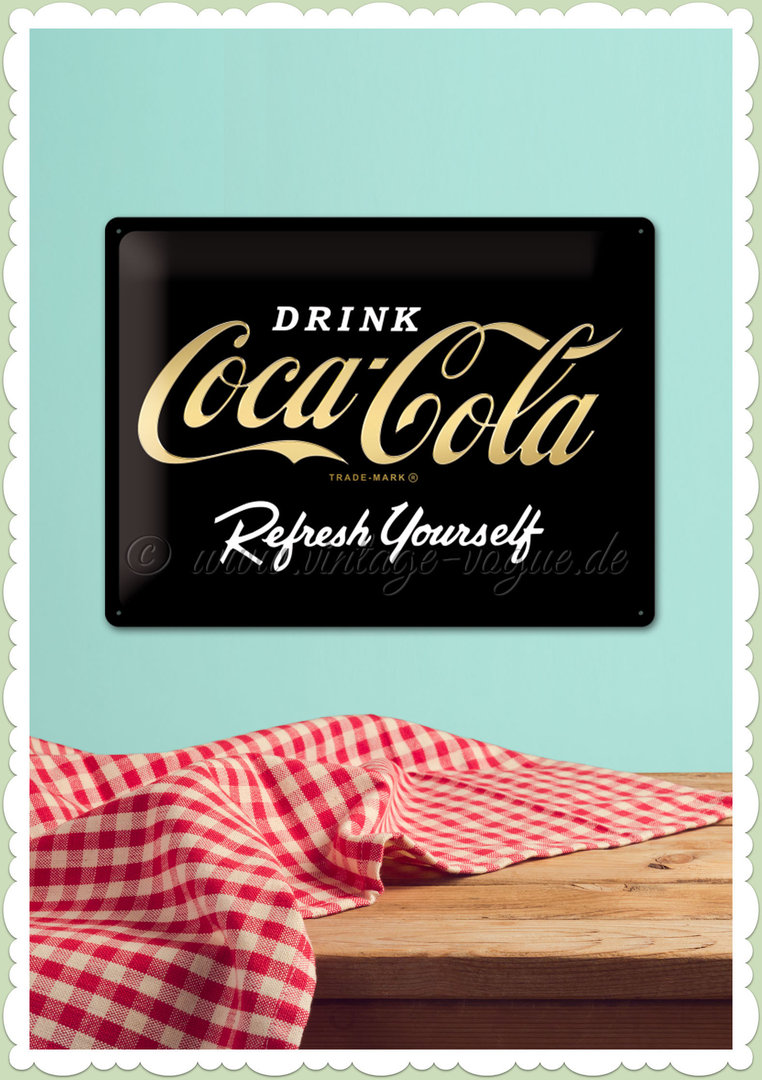 "Nostalgic Art Retro Blechschild ""Coca-Cola - Logo Black Refresh Yourself"""