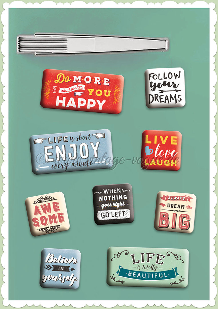 "Nostalgic Art Retro Vintage Magnet-Set ""Enjoy Life"""