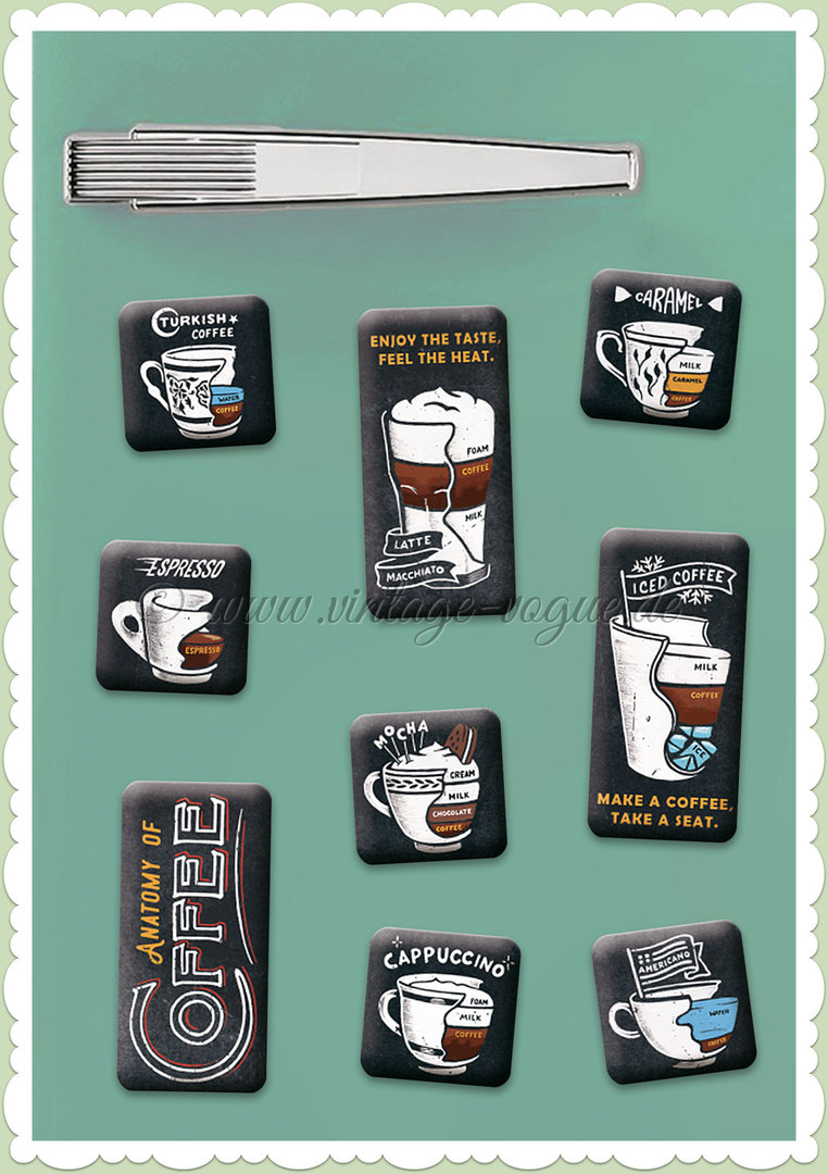 "Nostalgic Art Retro Vintage Magnet-Set ""Anatomy of Coffee"""