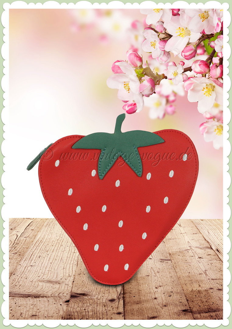 Collectif 50er Jahre Pin Up Erdbeer Tasche - Juicy Strawberry - Rot