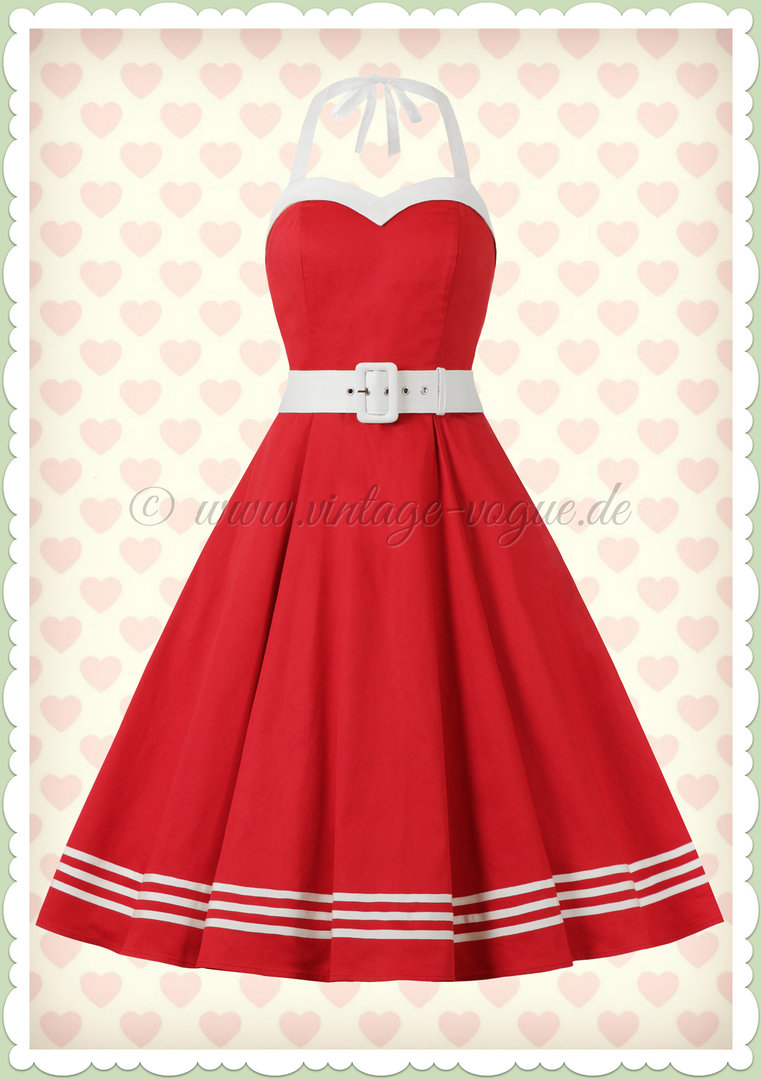 Collectif 50er Jahre Rockabilly Sailor Kleid - Georgie Nautical - Rot