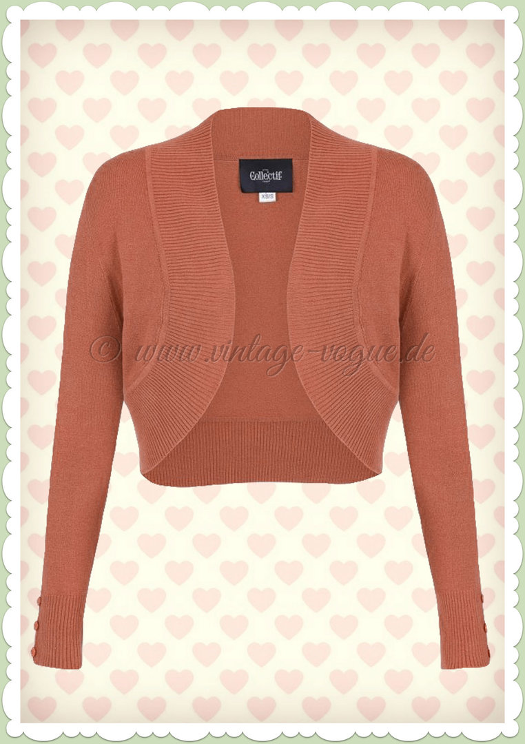 Collectif 50er Jahre Vintage Strick Bolero - Jean - Orange