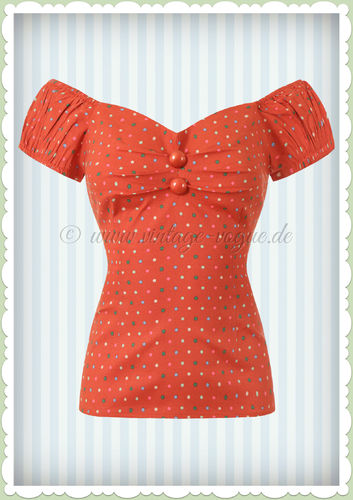 Collectif 50er Jahre Punkte Pin Up Vintage Top - Dolores - Orange
