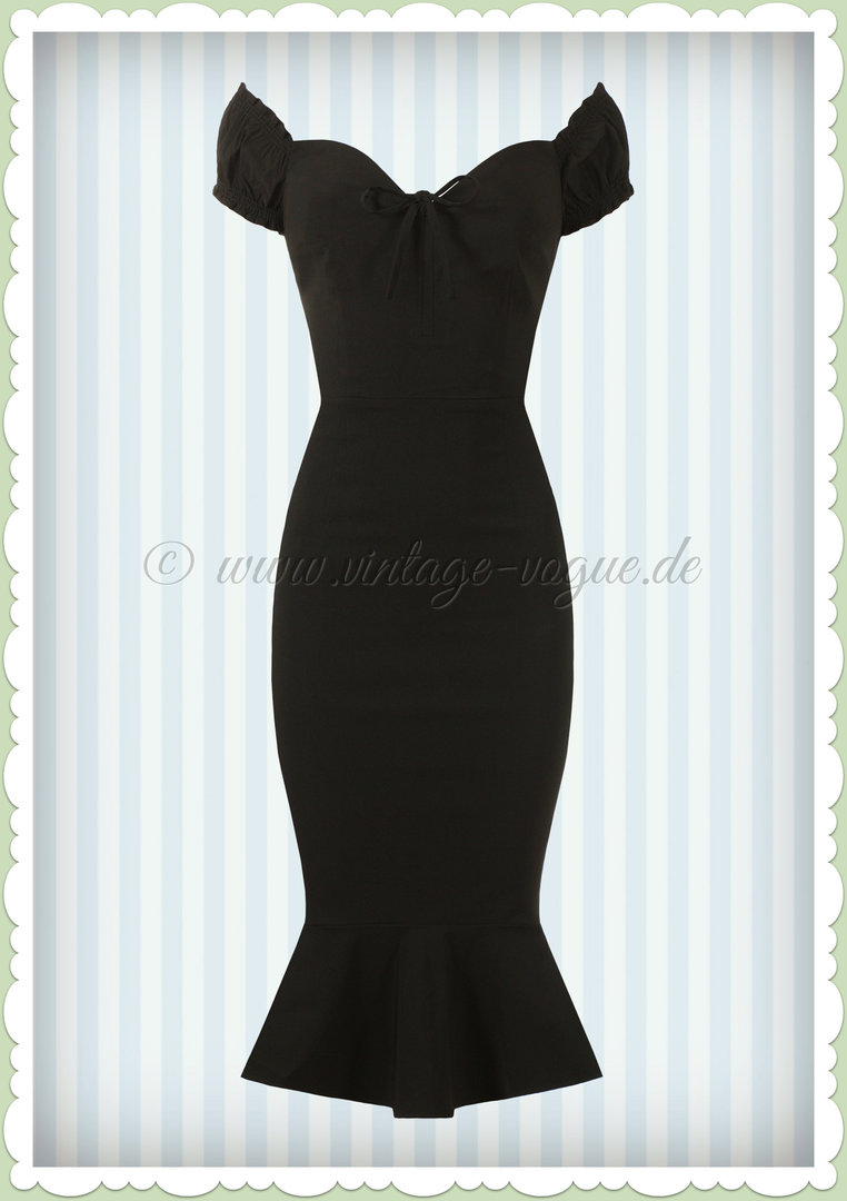 Collectif 50er Jahre Vintage Pencil Kleid  - Sashia Fishtail - Schwarz