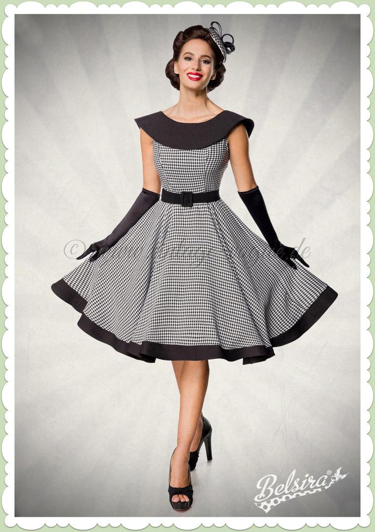 Belsira Premiun 13er Jahre Rockabilly Petticoat Swing Kleid - Schwarz Weiß