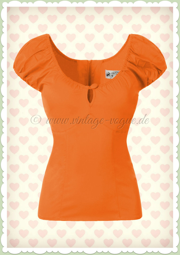 Hell Bunny 50er Jahre Retro Rockabilly Shirt - Melissia - Orange