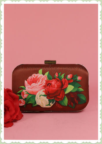 Woody Ellen 50er Jahre Vintage Box Clutch Tasche - Red Paris Floral - Weinrot