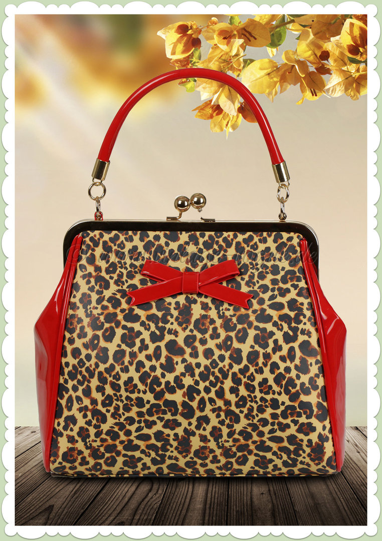 Banned 50er Jahre Retro Vintage Leo Handtasche - Money Honey - Leopard