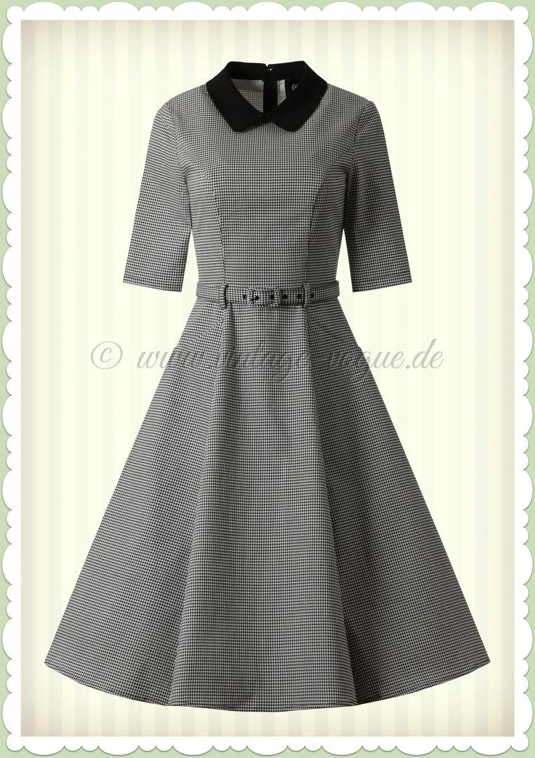 Collectif 18er Jahre Vintage Retro Hahnentritt Swing Kleid - Winina -  Schwarz Weiß