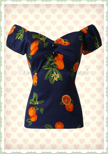 Collectif 50er Jahre Orangen Pin Up Vintage Top - Dolores - Blau Orange