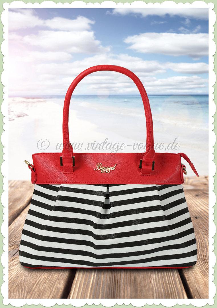 Schultertasche Schwarz Rot Banned gestreifte Handtasche