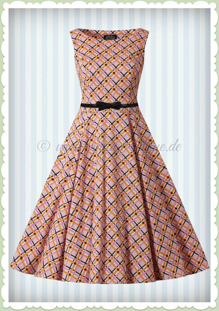 hearts & roses 60er jahre rockabilly vintage kleid - audrina - pink