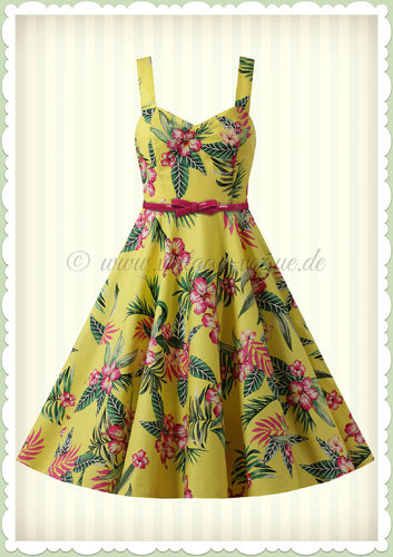 Hell Bunny 50er Jahre Rockabilly Floral Petticoat Kleid - Kalany - Gelb