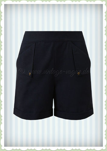 Banned 50er Jahre Rockabilly Shorts Hose - Sweet Summer Sail - Navy