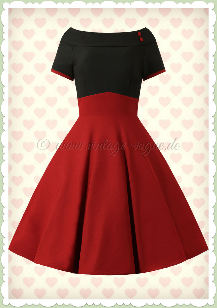Dolly & Dotty 50er Jahre Rockabilly Swing Kleid - Darlene - Schwarz Burgundy