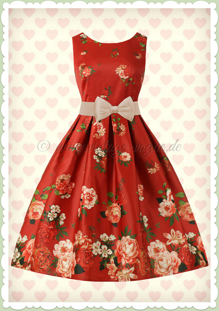 Dolly & Dotty 50er Jahre Retro Floral Petticoat Kleid - Annie - Burgundy
